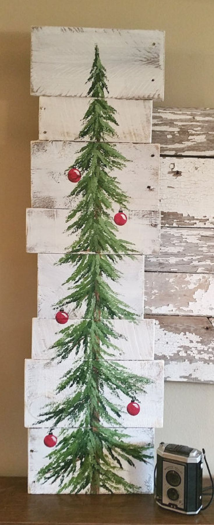 "Um... I ""need"" this 3 foot hand painted Rustic Christmas tree sign!! Christmas tree decor, Rustic Christmas decor, Farmhouse Christmas decor, Rustic sign, farmhouse decor, Christmas decoration, white washed, red bulbs, 3 foot Pine tree Reclaimed Pallet Art, winter snow #affiliate"
