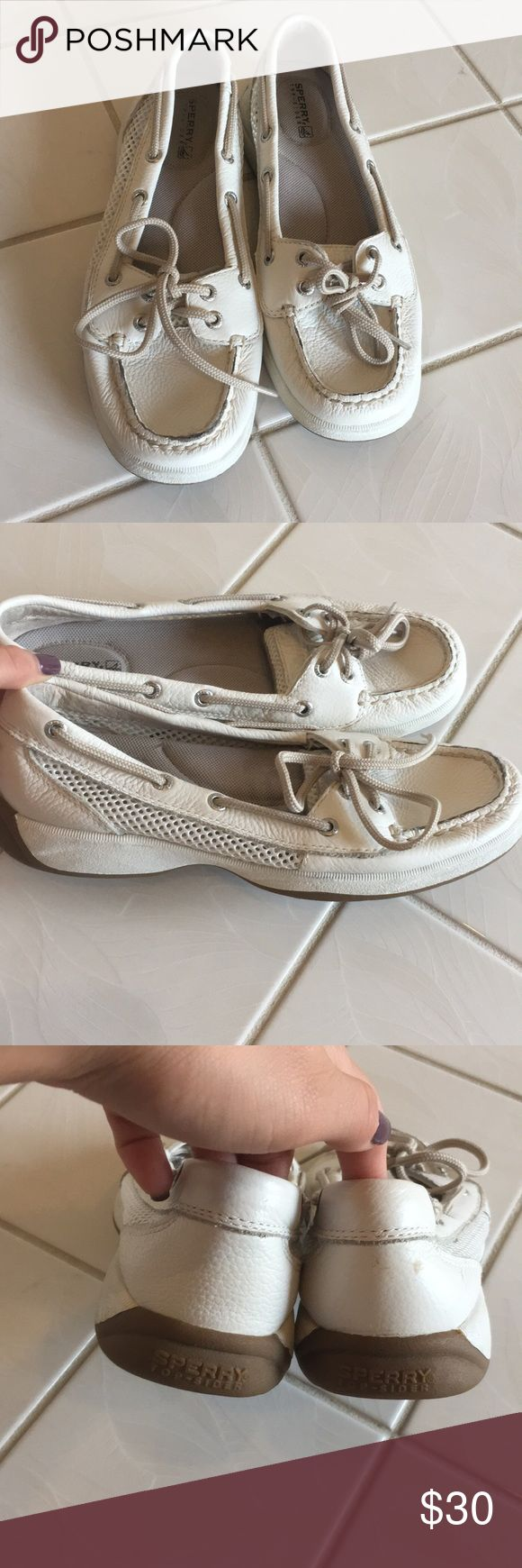 White sperry top siders! Never have been worn before! They are in great condition and feel free to offer me a lower price Sperry Shoes