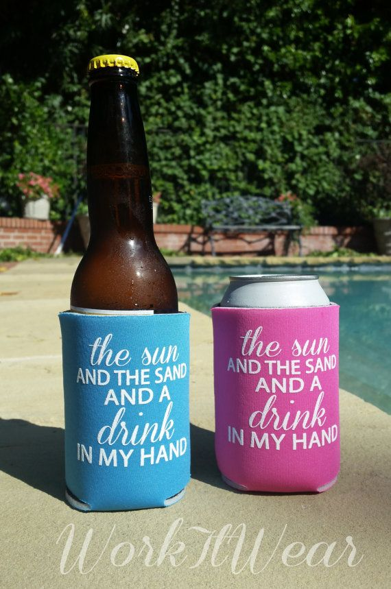 The Sun and the Sand and a Drink in my Hand Koozie. by WorkItWear #koozie…