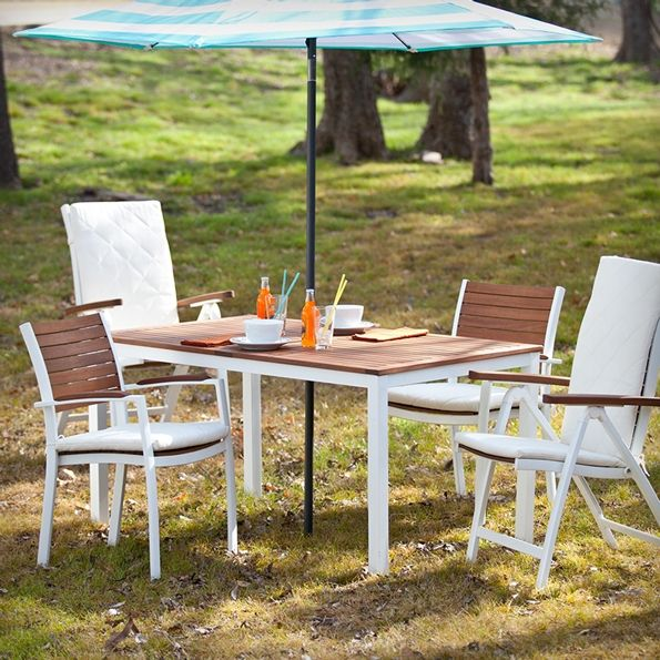 Medina Contemporary White Outdoor Dining Collection | Removable Cushions Included | White + Wood | Modern Outdoor Furniture Set | Eurway.com