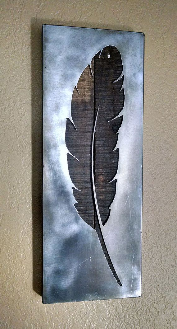 Feather - Metal Art - Reclaimed Wood and Aged Steel - 7.25x19.25 - by Legendary Fine Art