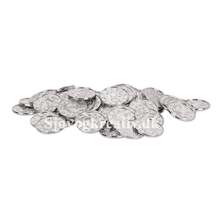 Flotte sølvmønter i plastik fra Sjovogkreativ.dk som kan bruges som tilbehør til temafest, børnefødselsdag og til leg.