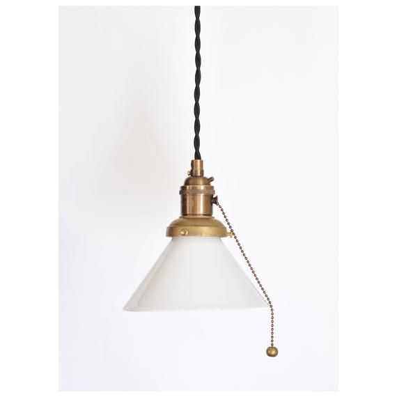 Plug In Pendant With Pull Chain Socket And Small Opal Cone Etsy Pull Chain Lamp Light Camera Lamp