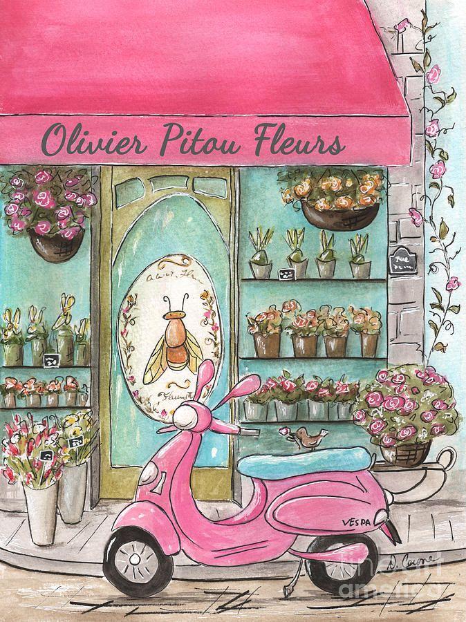 Paris Flower Shop - Olivier Pitou Fleurs - Pink Paris Vespa Collection Painting by Debbie Cerone