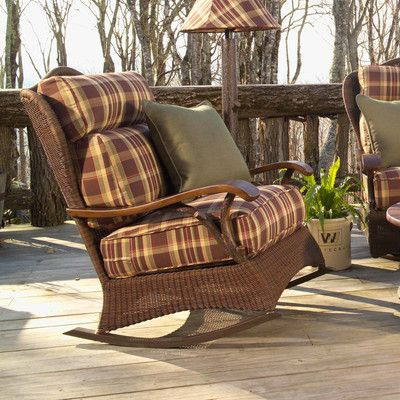 Woodard Chatham Large Rocking Chair with Cushions Fabric: Sunbrella Beachball Bluestone