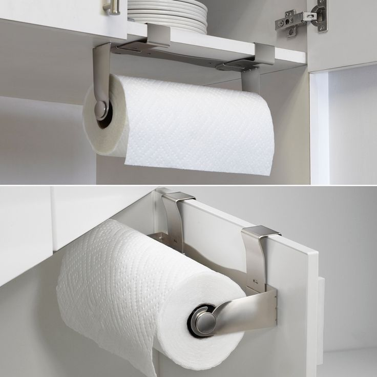 Paper towel holder can be mounted to wall, cabinet door or shelf.