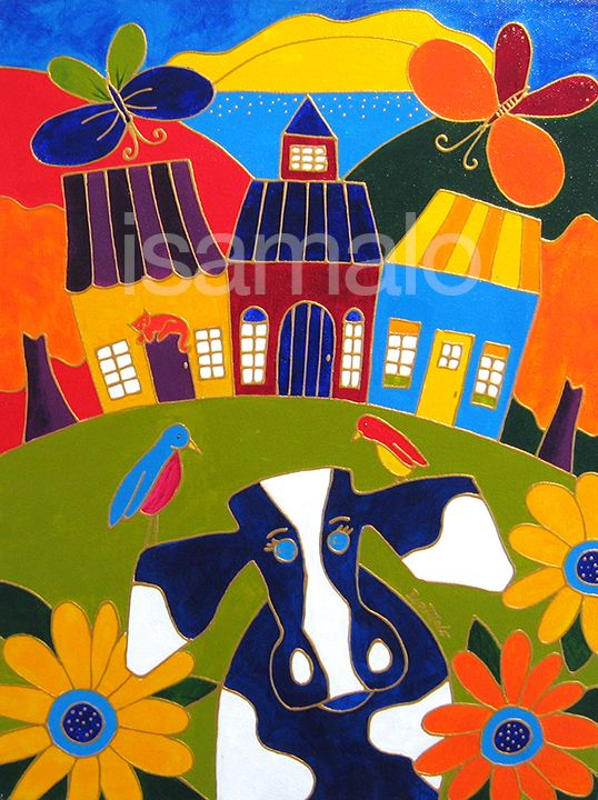The Village Cow by Isabelle Malo • Acrylic on Canvas • Folk Art • www.isamalo.com • Quebec Painter • Naive Art