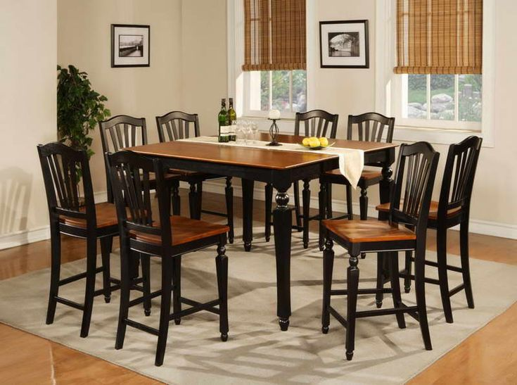 Discover The Quality And Style Of The East West Furniture   Chelsea Black  Square Counter Height Table Set With Chelsea Wood Seat Stool.