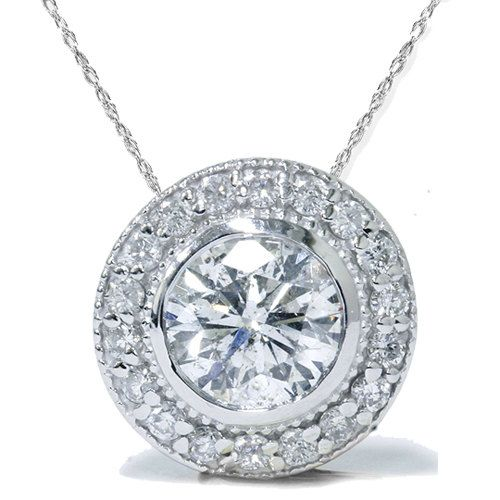 34 best diamond pendants images on pinterest diamond pendant 100ct diamond solitaire vintage halo round round bezel pendant 14k white gold 999 mozeypictures Image collections