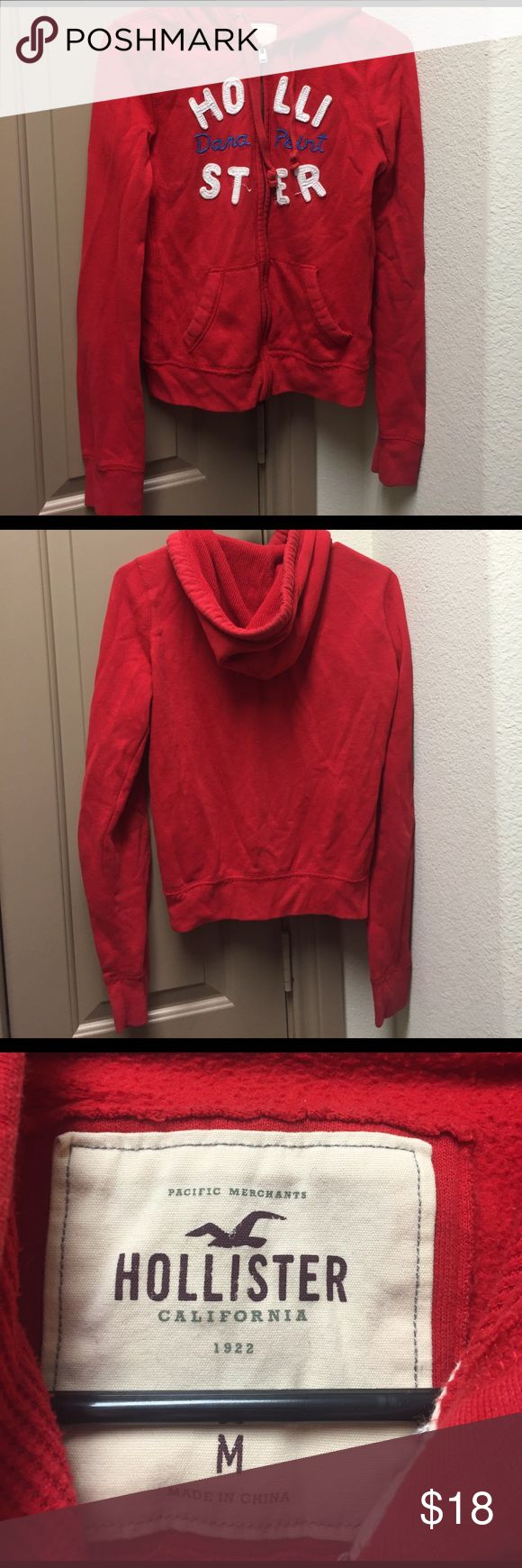 Hollister zip up hoodie red jacket Hollister red zip up jacket with hoodie in medium. Bid Hollister Jackets & Coats