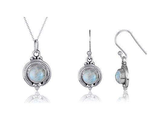 Création handmade-Parure bijoux originaux pas cher-Pendentif et Boucles d'oreille en Pierre de Lune véritable et Argent Massif forme ronde:…