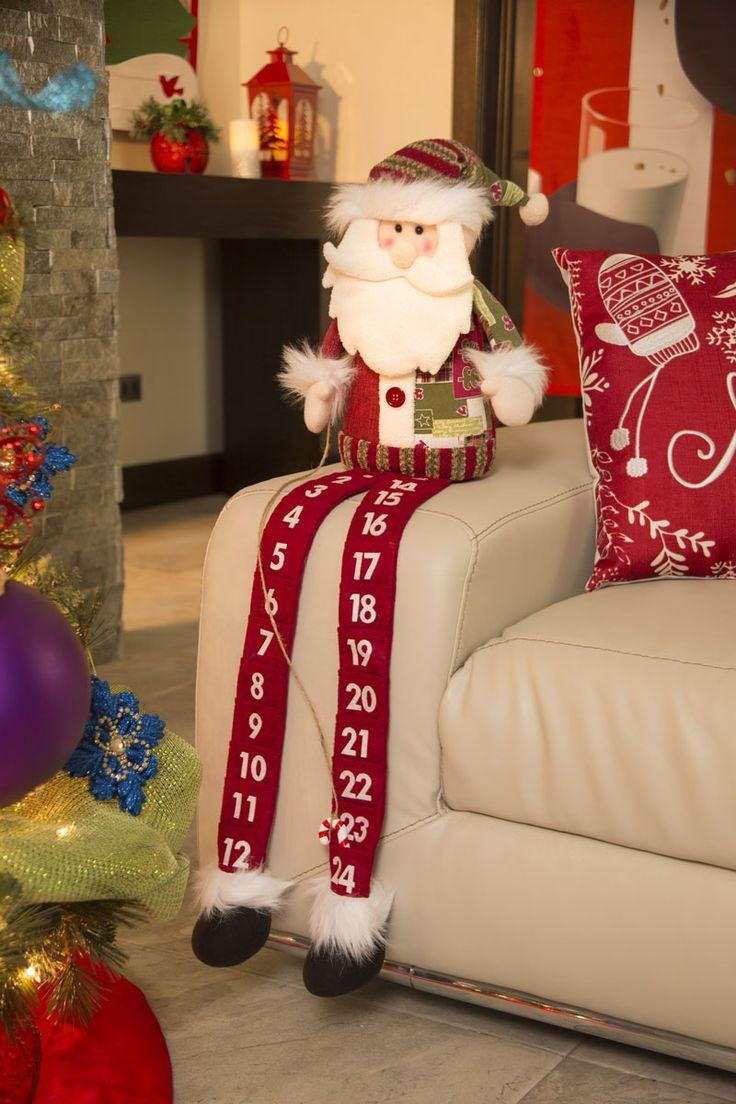Decoración navideña 2017. Peluche navideño de Santa, ideal para contar los días que faltan para Navidad.