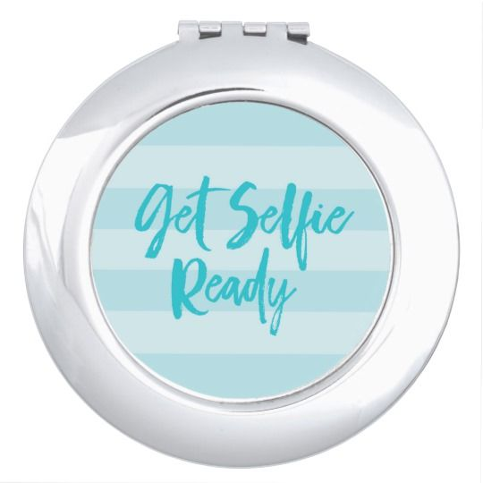 Get Selfie Ready Blue Stripes Modern Preppy Makeup Mirror by Rosewood and Citrus on Zazzle