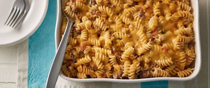 Homemade queso gives this satisfying beef and pasta bake an amazing Mexican flavor kick.