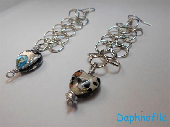Hearts earrings Daphnofila earrings Handmade earrings