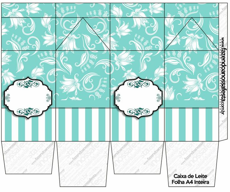 Tiffany´s Party Free Printable Boxes. Click on link for free templates. http://eng.ohmyfiesta.com/2014/05/tiffanys-party-free-printable-boxes.html