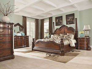 WINSTON   5pcs TRADITIONAL BROWN QUEEN KING LARGE POSTER BEDROOM SET  FURNITURE