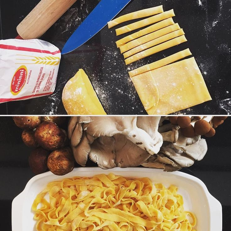 Step2 - Tagliatelle are done  Now we have to clean some mushrooms and then let's make the fires #makingof #freshpasta #eggpasta #pastamaking #italianfood #eatlocal #homecooking #tagliatelle #pasta #recipes #warmcocotterecipes #warmcocotte #homemadepasta #homemade #handmade #pastalovers #eatclean #mushrooms #cooking #pastafresca #onthetable #pastaaddict #fattaincasa #00flour #eggs #porcini #f52grams #cucinaitaliana