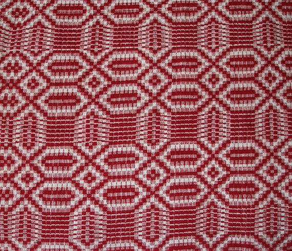 Eyecatching!!! Vintage Handwoven Geometric Raspberry - White Tablecloth, Sofa throw or Bedspread  by VintageHomeStories,