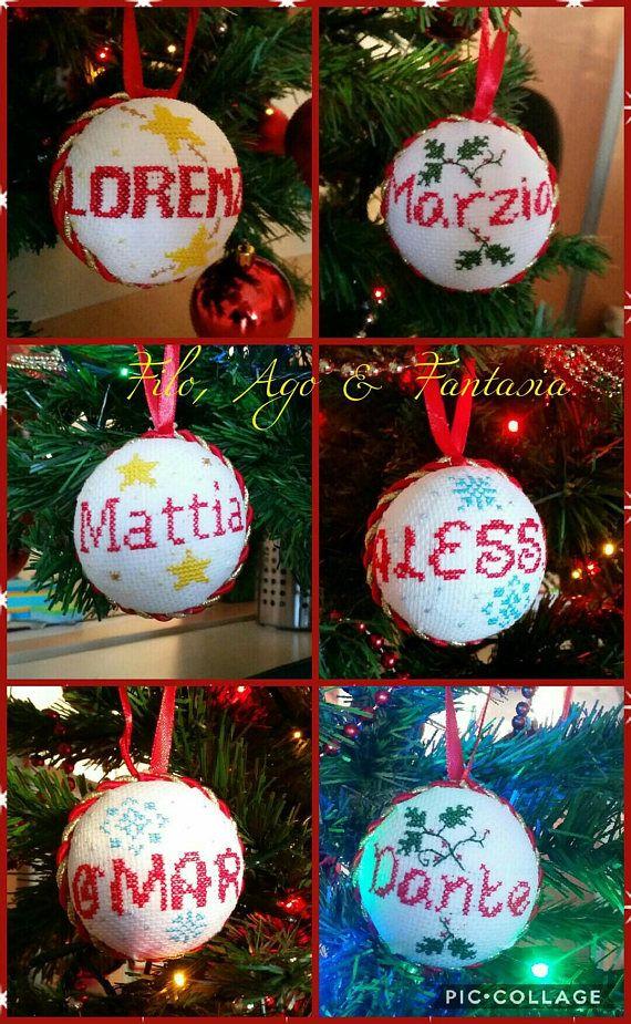 Immagini Di Natale Con Nomi.Palline Di Natale Personalizzate Con Nome Cross Stitch