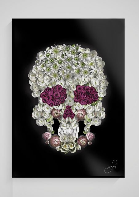 J.ELMING ILLUSTRATIONS aims to make art available for everyone by offering unique and easygoing pieces to reasonable prices  skull sugarskull plexiglas plexiglass plexi painting scanography flowers roses interior