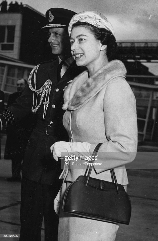 Queen Elizabeth II and Prince Philip, Duke of Edinburgh pictured arriving at London Heathrow Airport on April 8th 1957.