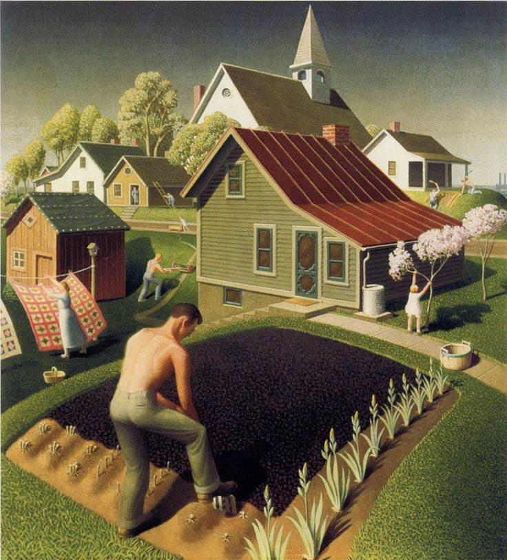 Grant Wood: Spring in Town, 1942