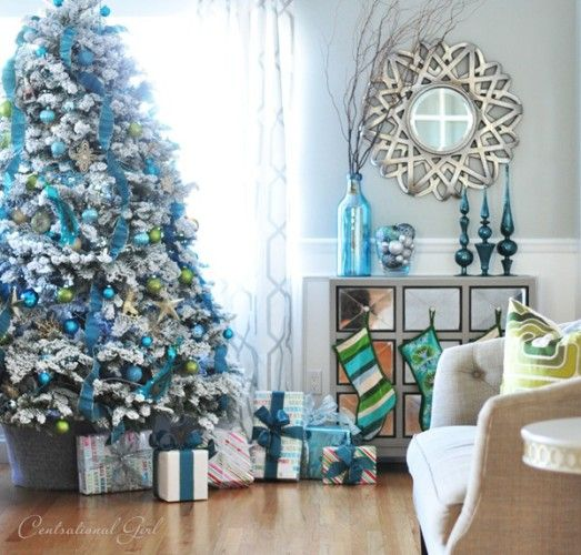 christmas tree decor ideas blue white color