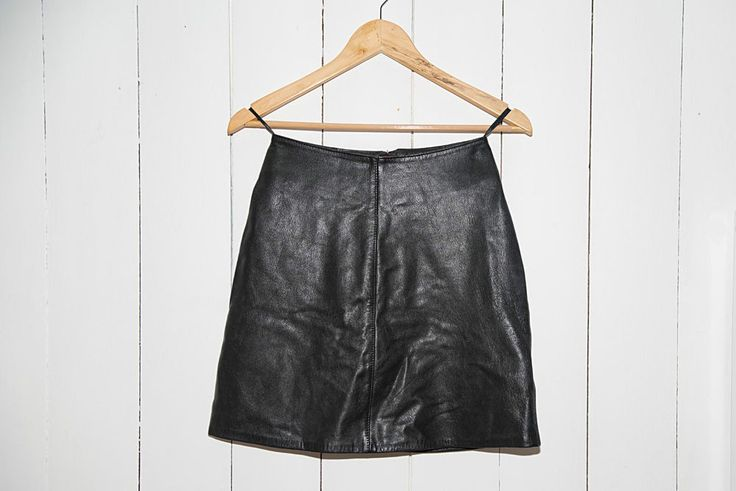 Vintage A Line Black Leather Mini Skirt - Size 8 in Clothes, Shoes & Accessories, Women's Clothing, Skirts | eBay