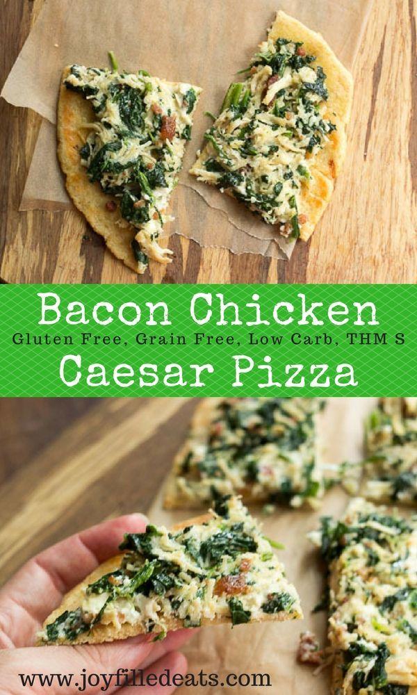 Bacon Chicken Caesar single serve pizza. It is low carb, grain gluten free, keto, and THM S. via @joyfilledeats