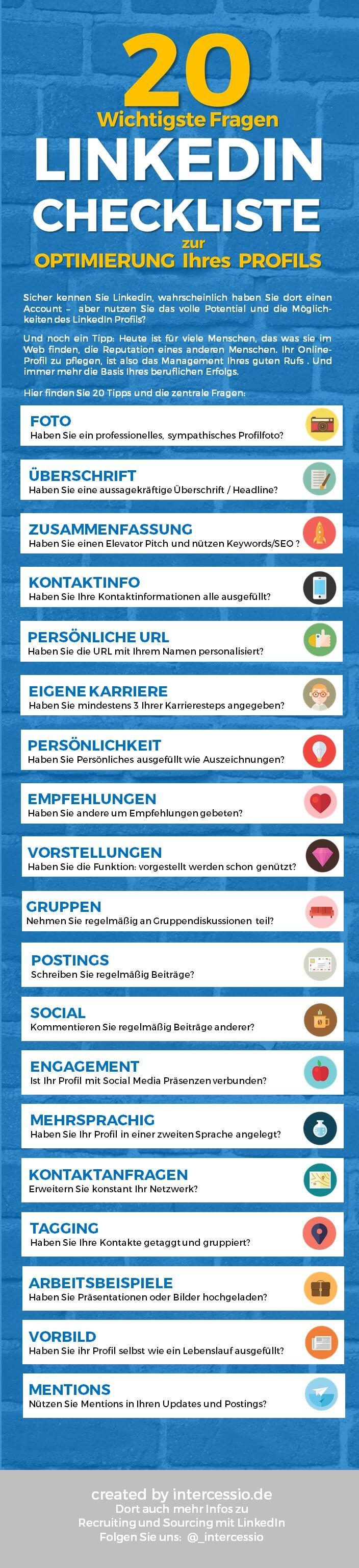 Die 20 wichtigsten Punkte Ihrer Linkedin Profil Optimierung [Infographic] via @intercessio  http://www.networkfinder.cc/xing-linkedin-facebook-profiles/19-2-punkte-zur-linkedin-profiloptimierung-infografik/ #LinkedIn
