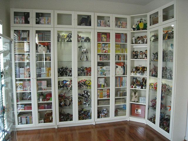Talk about a place to put all of our cool geeky stuff. BUY THESE BOOKCASES! They are awesome. We just bought a set in ebony - well made and very easy to assemble.