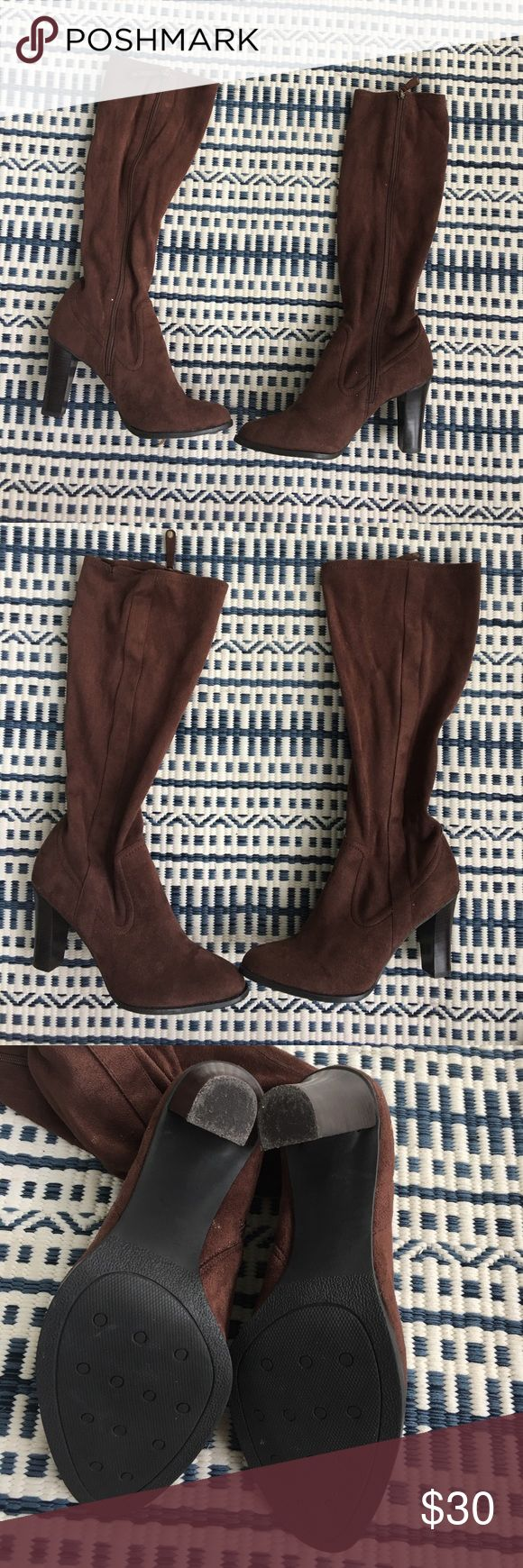 Brown suede knee high boots Brown suede knee-high boots with a heel. Stretchy material encompassing the calf. Soles in like-new condition. worn once Isaac Mizrahi Shoes Heeled Boots