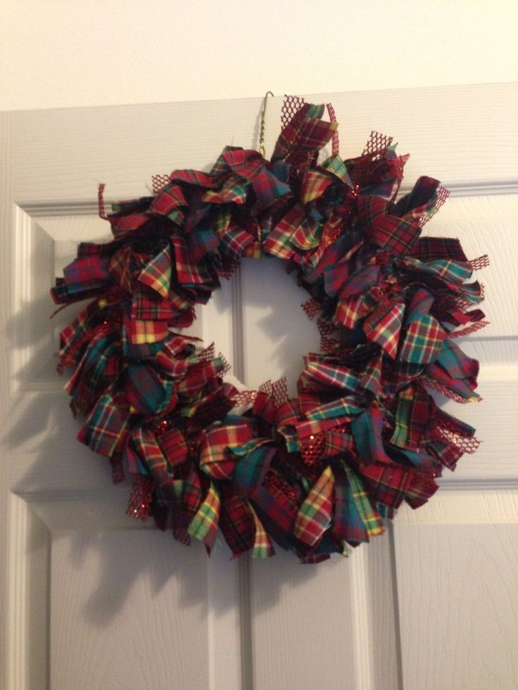 Rag Wreath Using Wire Hanger Plaid Fabric 4 Designs And