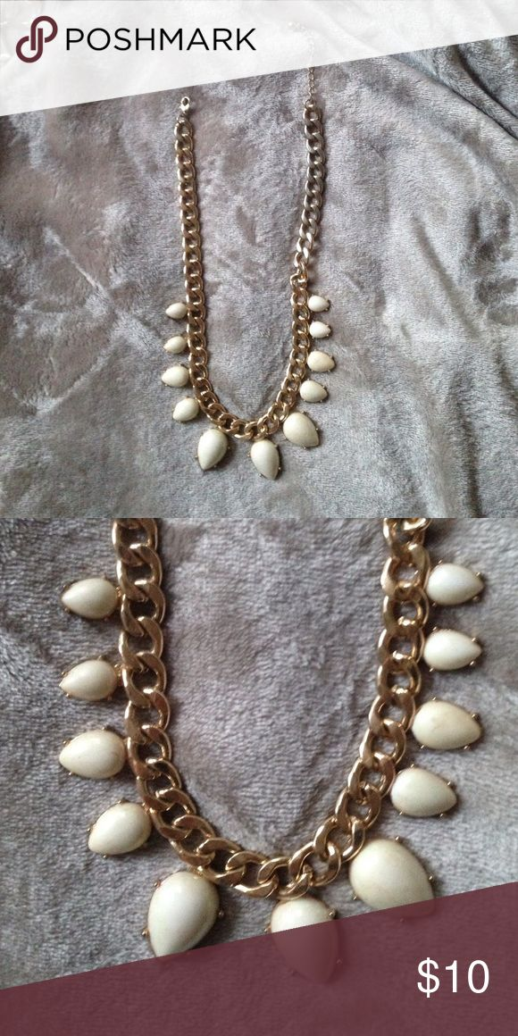 Thick gold chain necklace with white stones Beautiful thick gold chain statement necklace with pearlescent white stones, very minimal signs of wear! Jewelry Necklaces