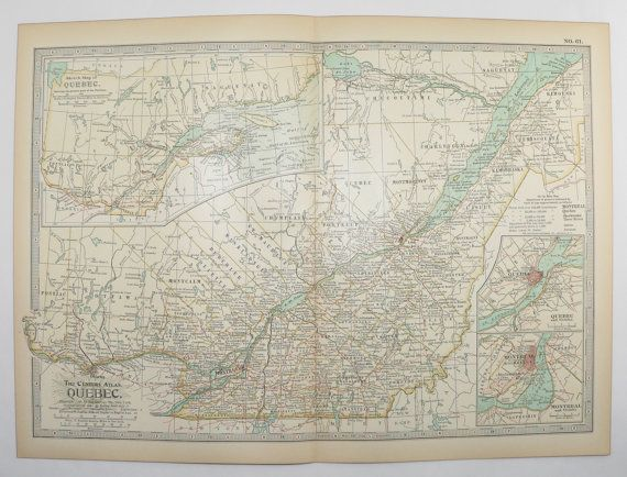 1901 Vintage Map of Quebec Canada, Canadian Decor Gift for New Home, Antique Quebec Art Map available from OldMapsandPrints on Etsy