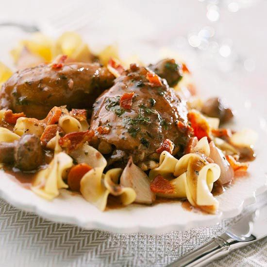 Pair our Coq au Vin with a medium-bodied red wine for a full flavor experience: http://www.bhg.com/recipes/dinner/food-and-wine-pairings/?socsrc=bhgpin020915coqauvin&page=15