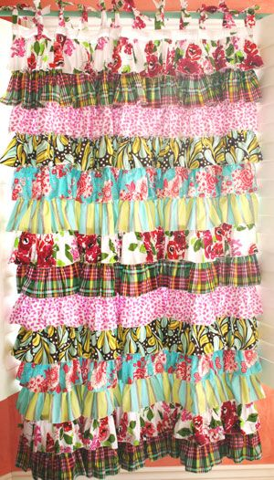 Ruffle Curtain, I would love one of these for my bathroom shower curtain!