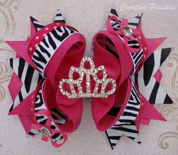 Hot Pink and Zebra Tiara Princess Hair Bow by CreativeFinishesBows