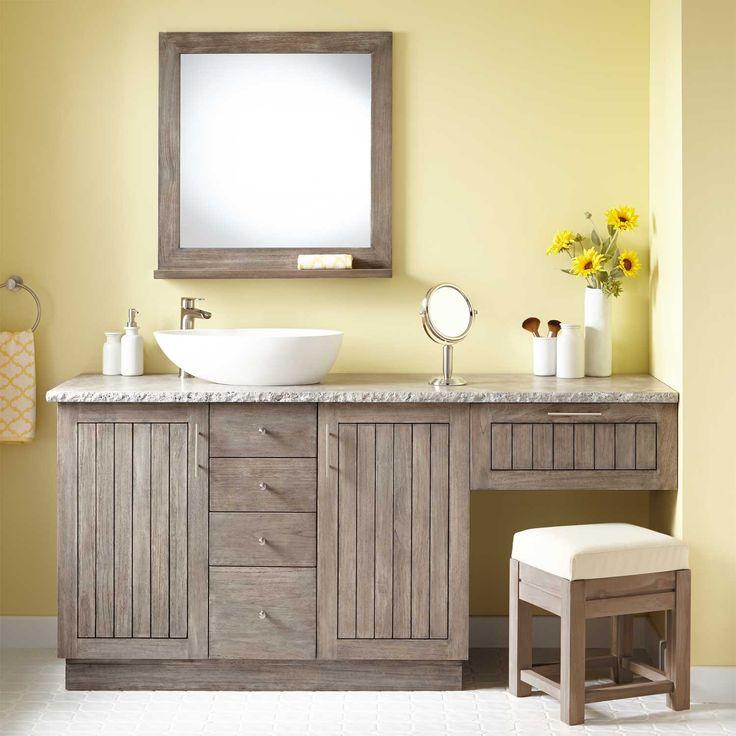 72 Montara Teak Vessel Sink Vanity With Makeup Area Gray Wash