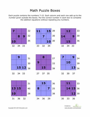 Math Worksheets: Addition Math Puzzles #7
