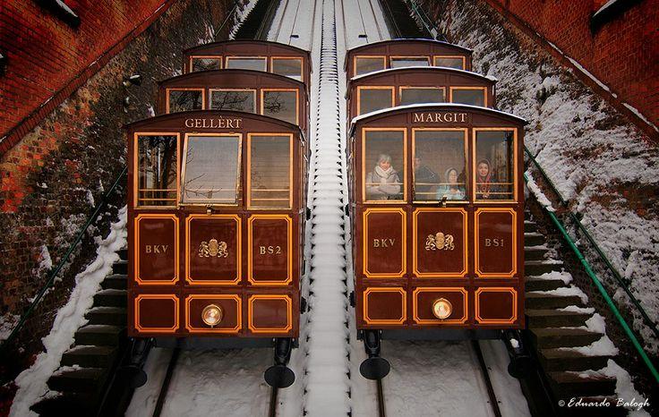 Funiculars on Castle Hill, named Gellért and Margit #Budapest