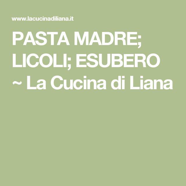 PASTA MADRE; LICOLI; ESUBERO ~ La Cucina di Liana