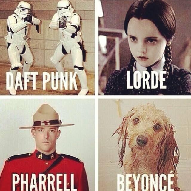 Pretty accurate #DaftPunk #Lorde # Pharrell #Beyonce