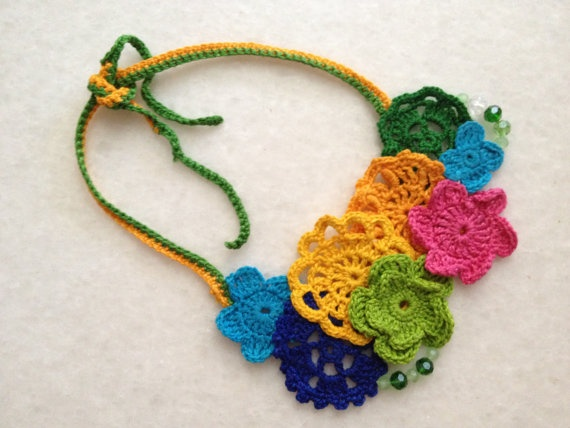 Handmade Crochet Necklaces by hebaalayyan on Etsy, $30.00: Crochet Necklace