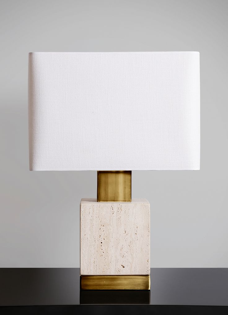 Square limestone lamp with black metal details