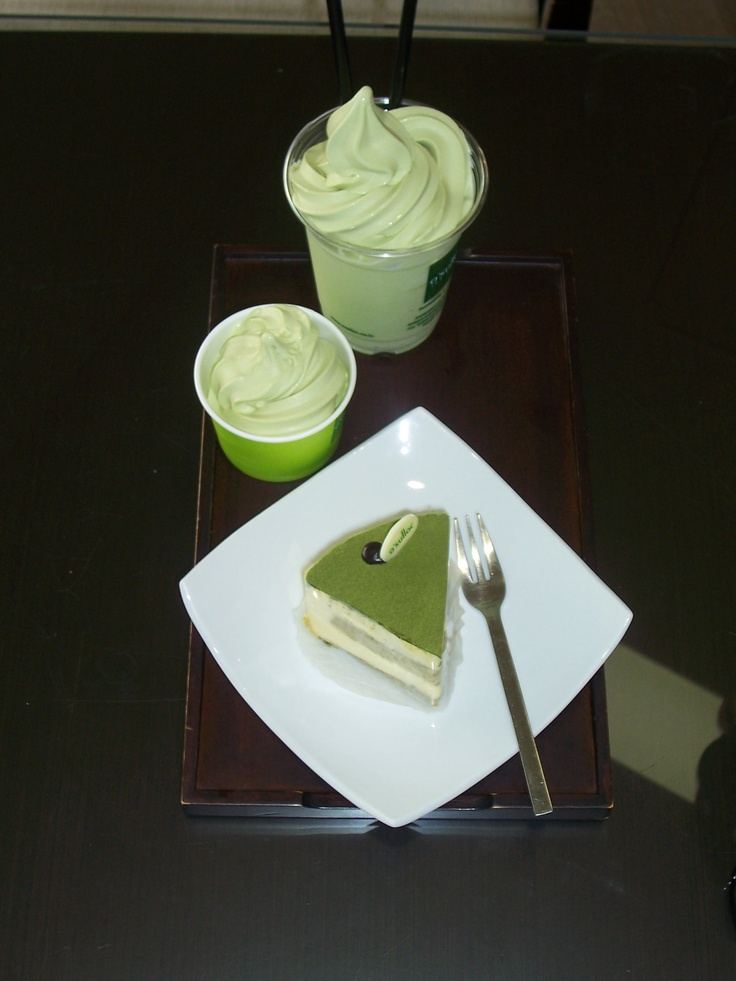 Green tea cake with green tea ice cream. That's how I like my antioxidants... On Jeju Island.