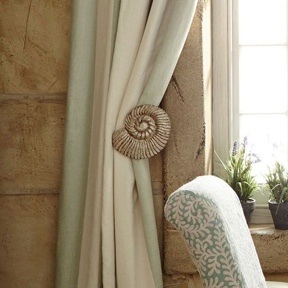 Pair of Shell Curtain Hold Backs - Antiqued Silver