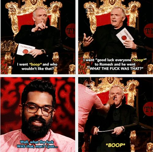 Backstage, you know, I gave Romesh a little encouraging tap on the nose…| Greg Davies and Romesh Ranganathan |Taskmaster