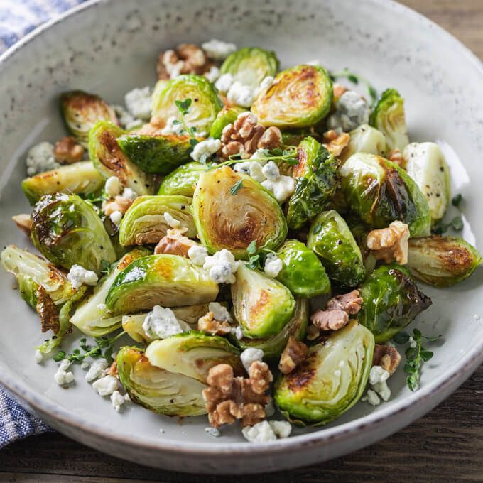 Roasted Brussels Sprouts with Walnuts and Blue Cheese   – Recipes